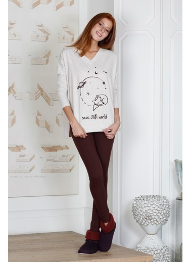 Hays Kadın Penye Taytlı Pijama Takımı Bordo